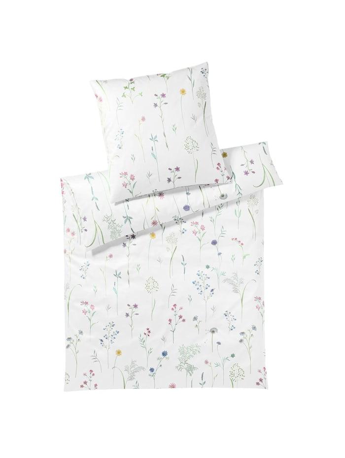 Elegante Mako-Jersey Bettwäsche Flowery weiß, weiß