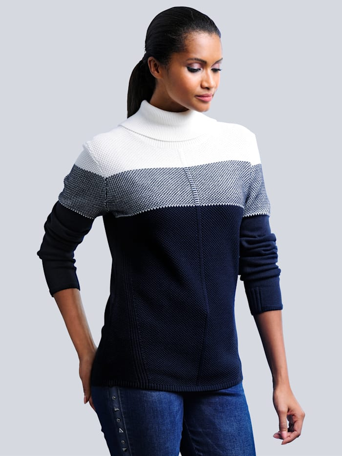 Alba Moda Pullover in modischer Strickart, Marineblau/Off-white