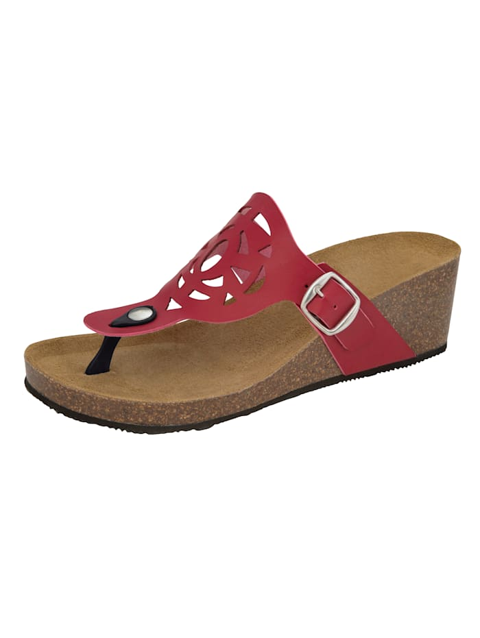 Teenslipper met zomerse cut-outs, Rood