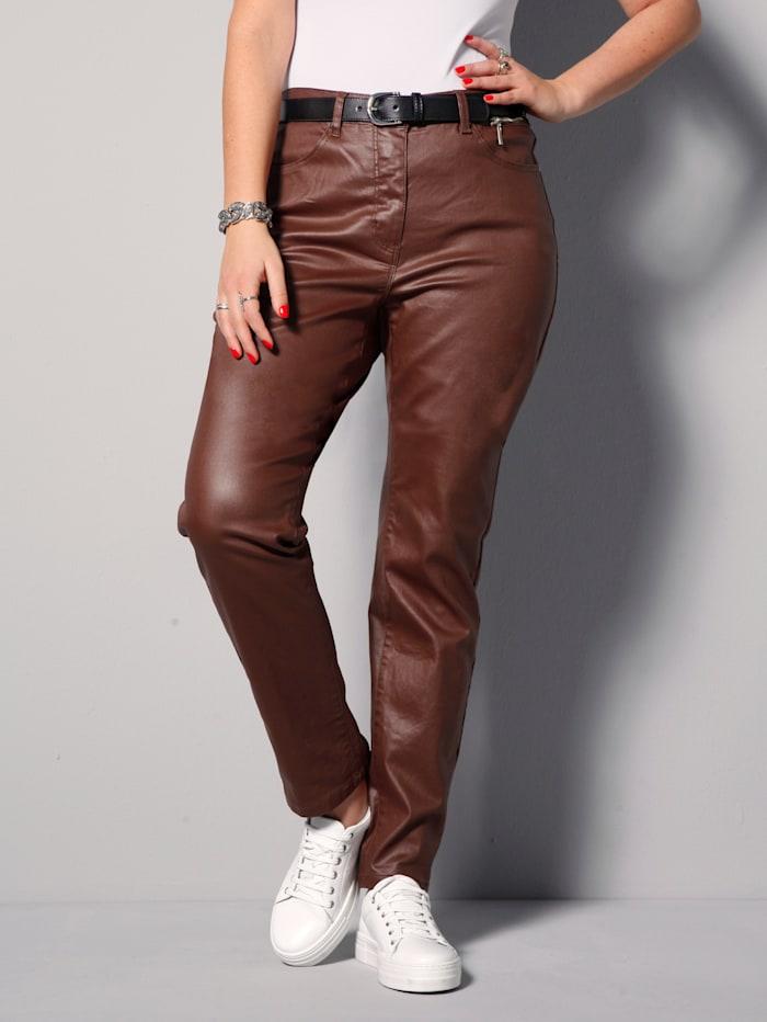 MIAMODA Pantalon avec enduction, Cognac