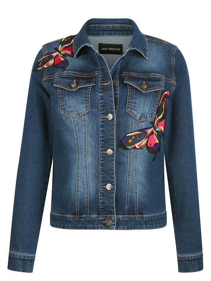 Jeansjacke mit Schmetterling-Patches