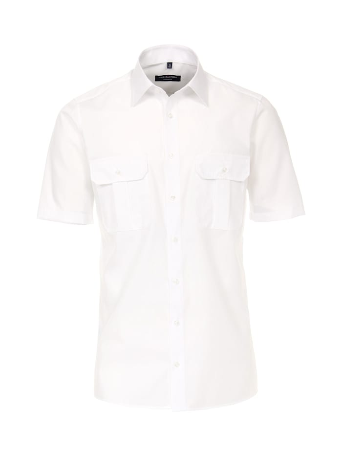 CASAMODA Hemd Halbarm uni Modern Fit, Weiß