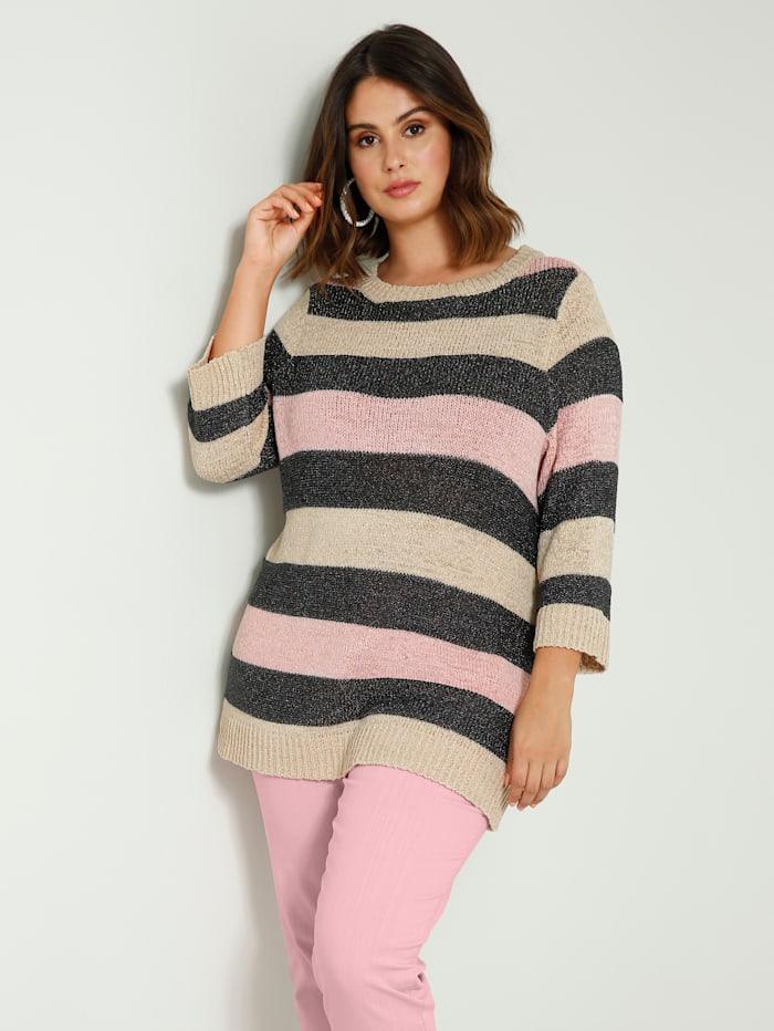 Sara Lindholm Pullover in super weicher Qualität, Grau/Rosé