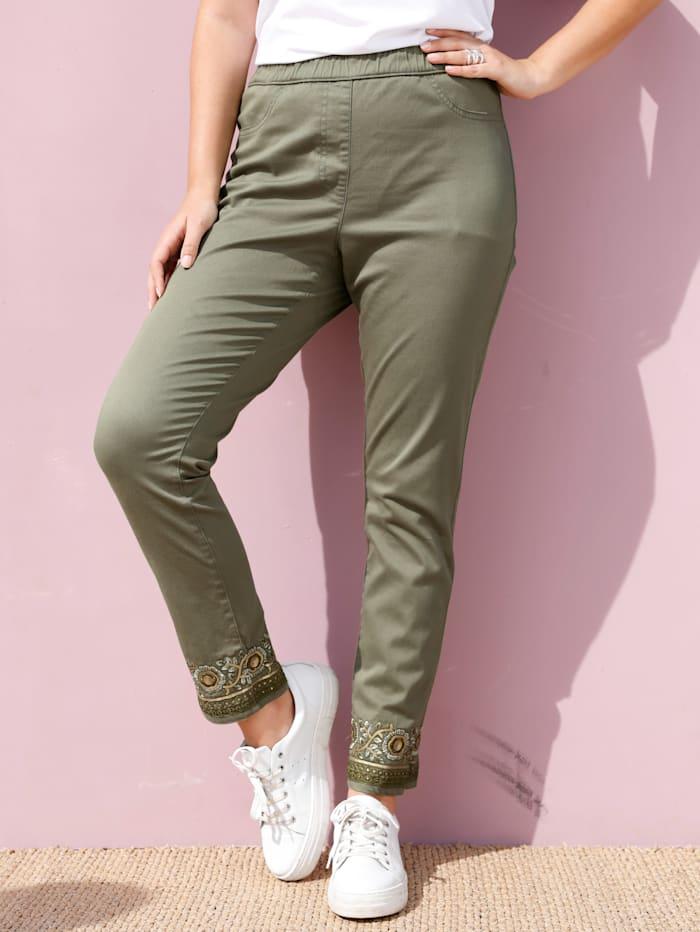 MIAMODA Nohavice s modernou výšivkou na leme, Khaki
