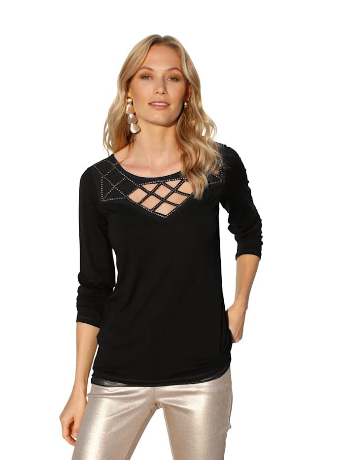 AMY VERMONT Shirt met cut-outs, Zwart