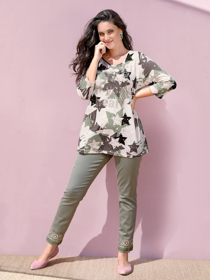 MIAMODA Shirt mit Nieten, Rosé/Khaki/Weiß