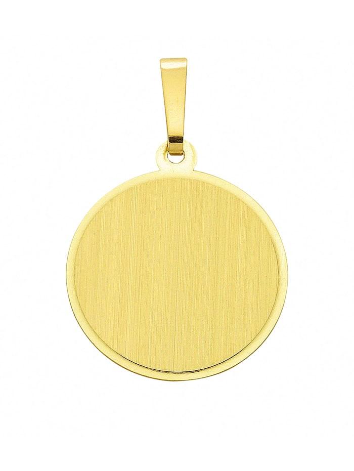 1001 Diamonds Damen Goldschmuck 333 Gold Gravurplatte Anhänger Ø 15,5 mm, gold