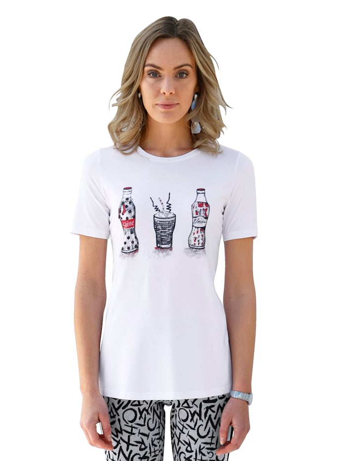 AMY VERMONT Shirt mit platziertem Druck im Vorderteil, Weiß