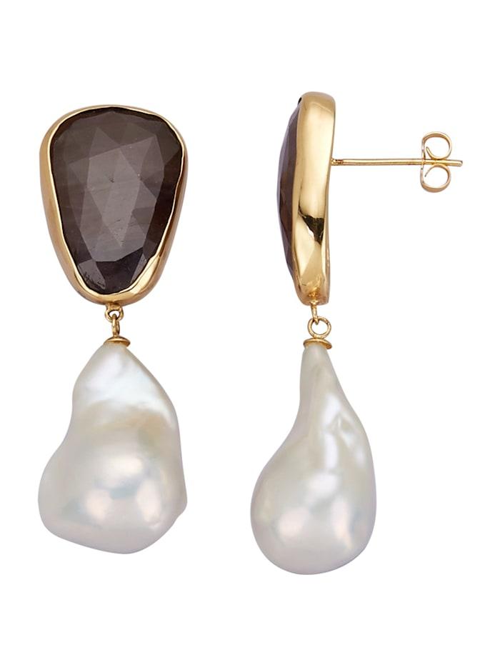 Boucles d'oreilles à perles de culture d'eau douce, Marron
