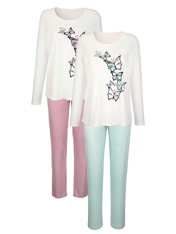 Harmony Pyjamas par lot de 2 en pur coton agréable à porter, Vieux rose/Jade