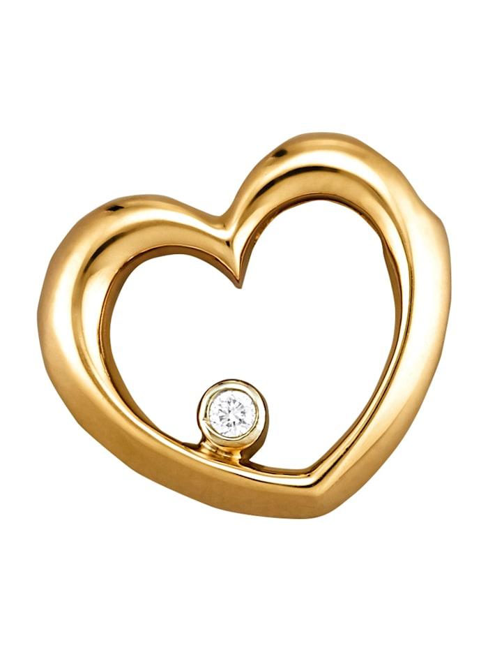 Amara Diamant Herz-Anhänger mit Diamant, Gelbgoldfarben