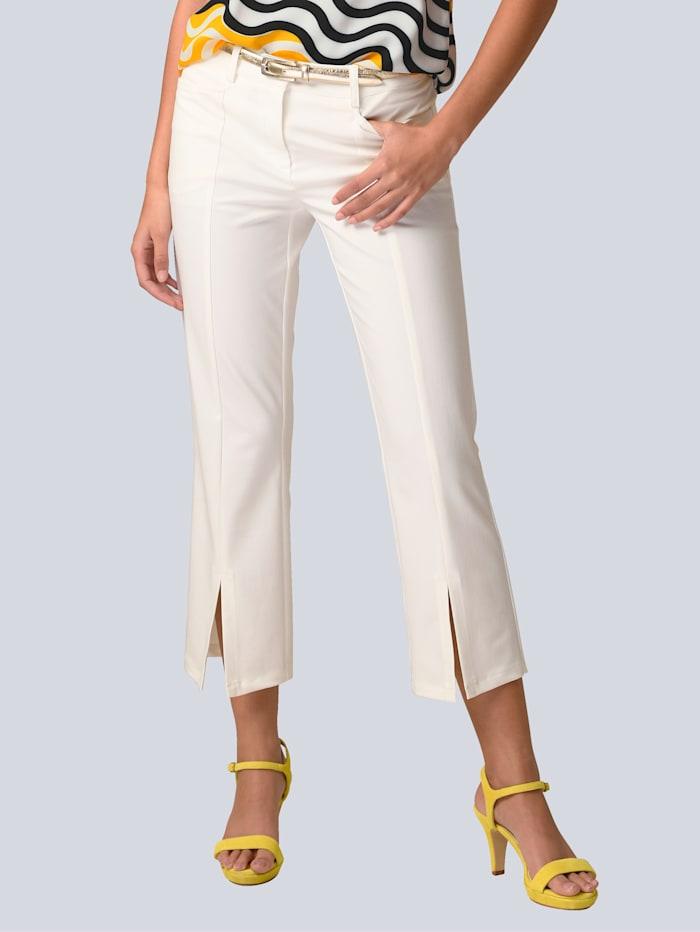Alba Moda Hose mit kleinen Schlitzen, Weiß