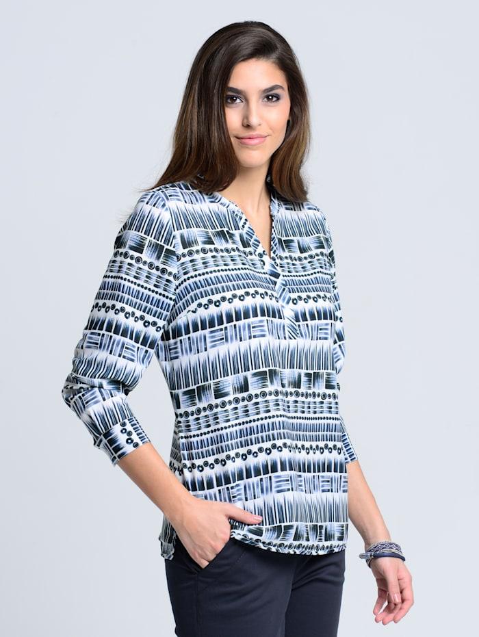 Alba Moda Bluse im grafischen Mustermix, Marineblau/Weiß