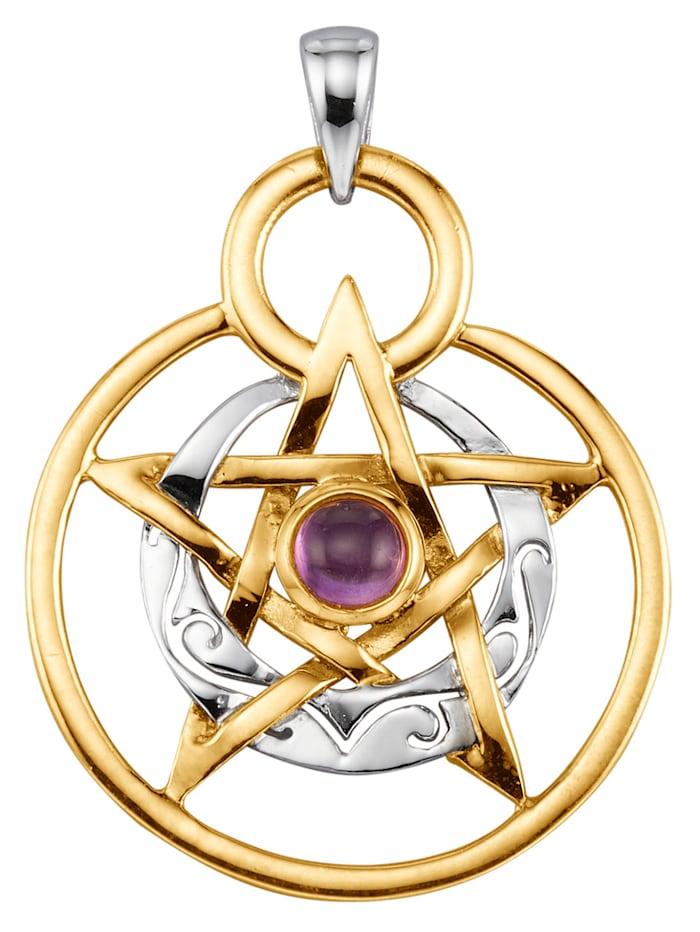 KLiNGEL Pentagramm-Anhänger, Silberfarben/Gelbgoldfarben