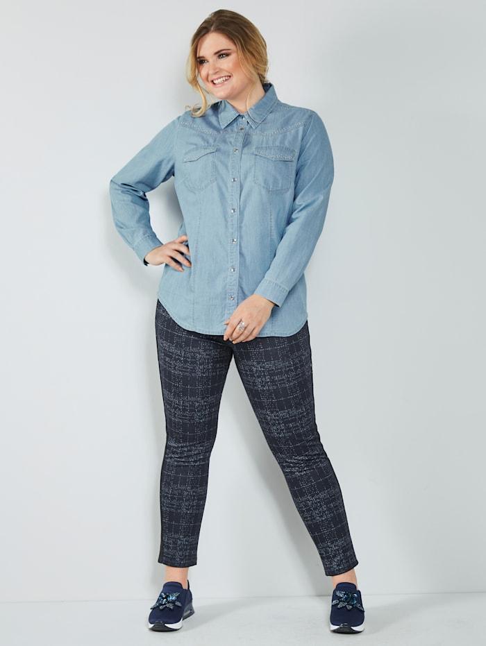 MIAMODA Kalhoty s kontrastními vlákny, Námořnická/Bílá