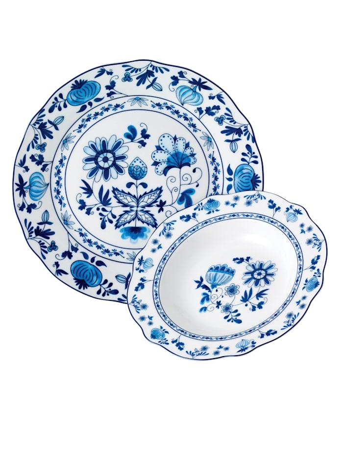 Van Well 12-os. ruokailuastiasto, sininen/valkoinen
