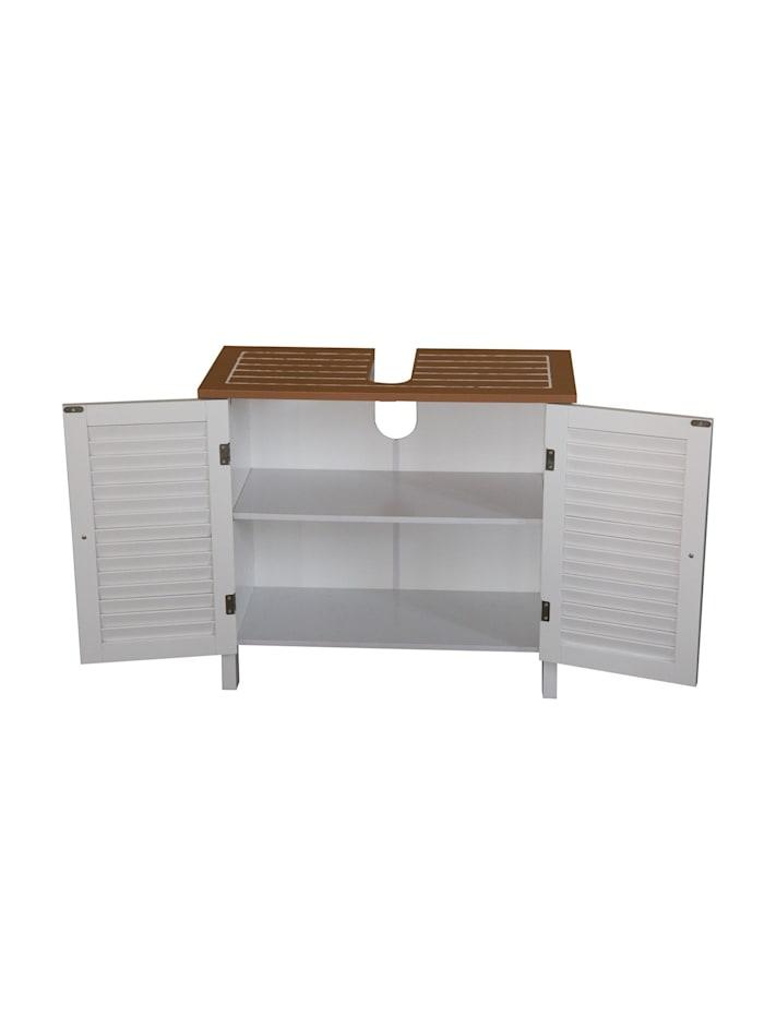 HTI-Line Waschbeckenunterschrank Bambus, Weiß, Braun