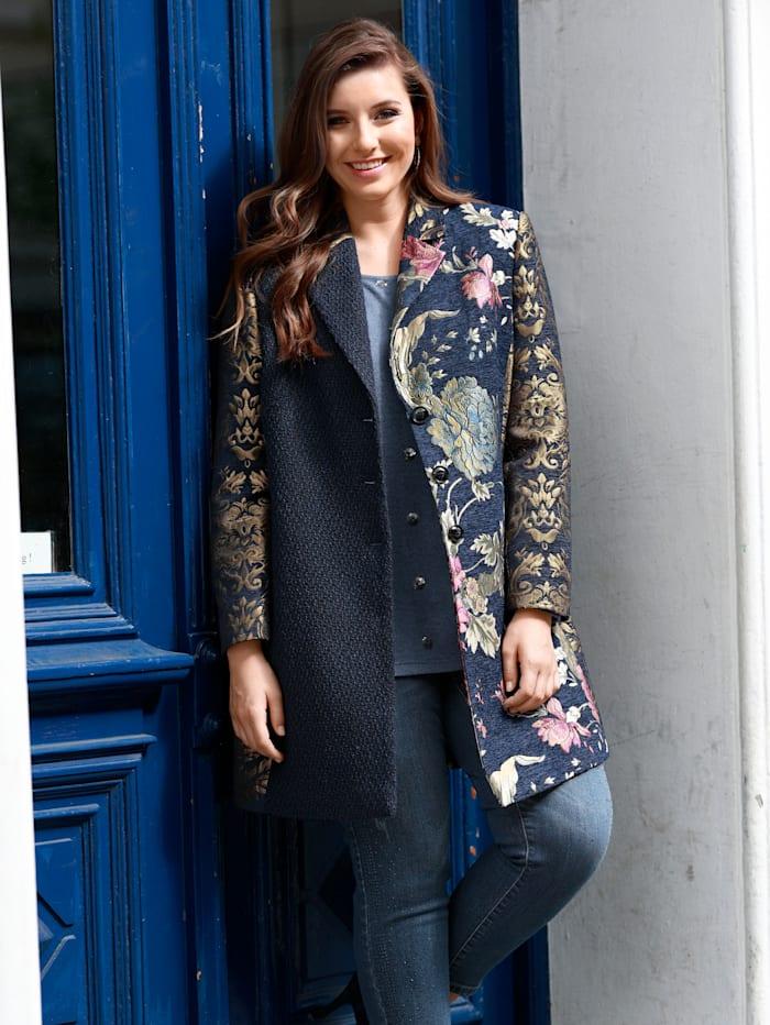 Sara Lindholm Robe manteau van hoogwaardig materiaal, Blauw/Goudkleur/Roze