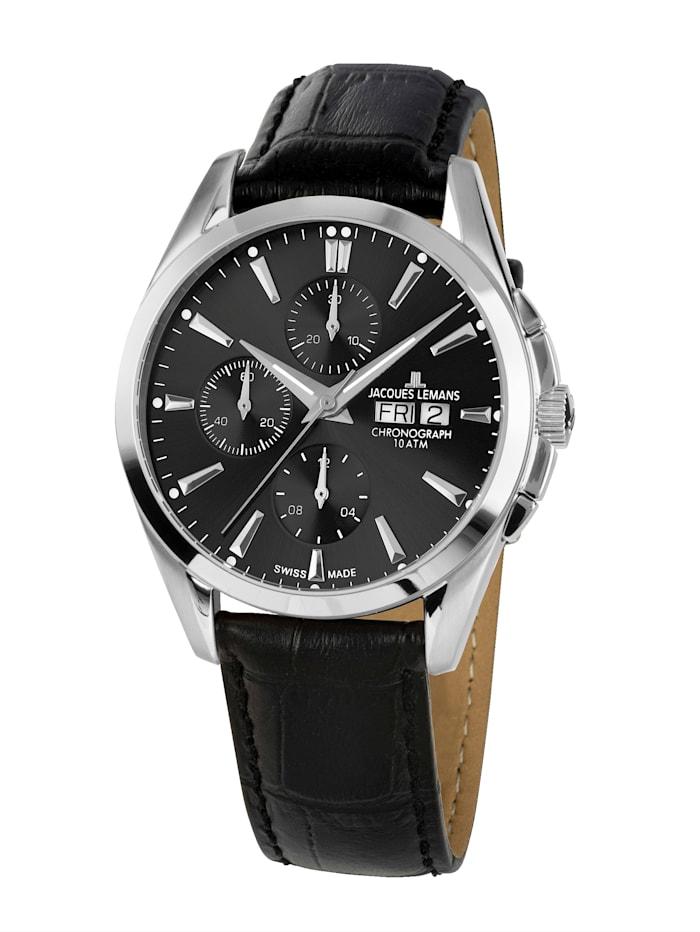 Jacques Lemans Herren-Uhr- Automatik-Chronograph Serie: Derby Automatic, Kollektion: Classic: 1- 1925A, Schwarz