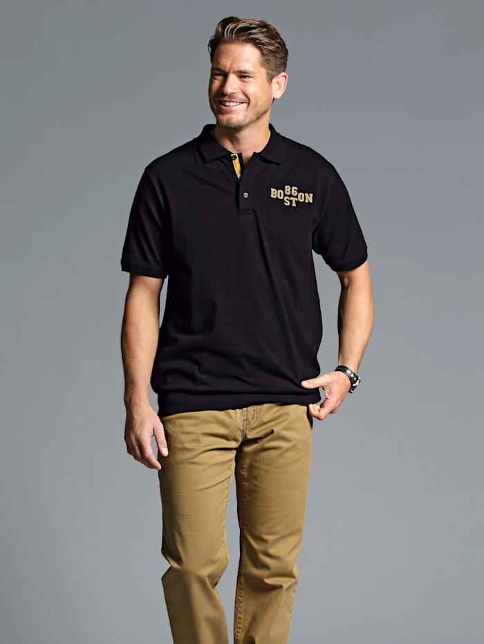 Men Plus Poloshirt, Zwart