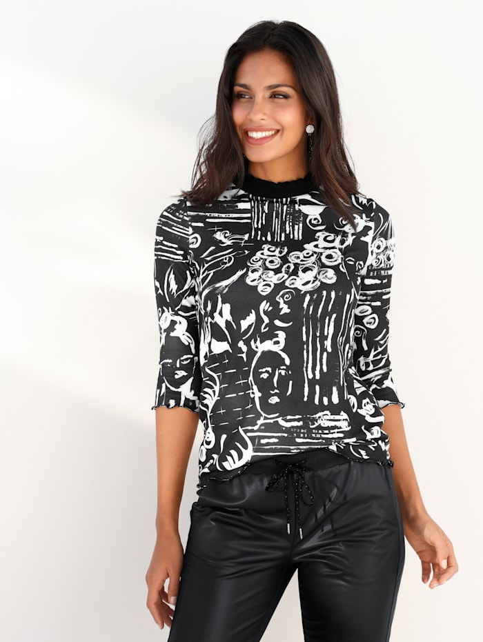 AMY VERMONT Stehbundshirt mit Scribble-Druck, Schwarz/Off-white
