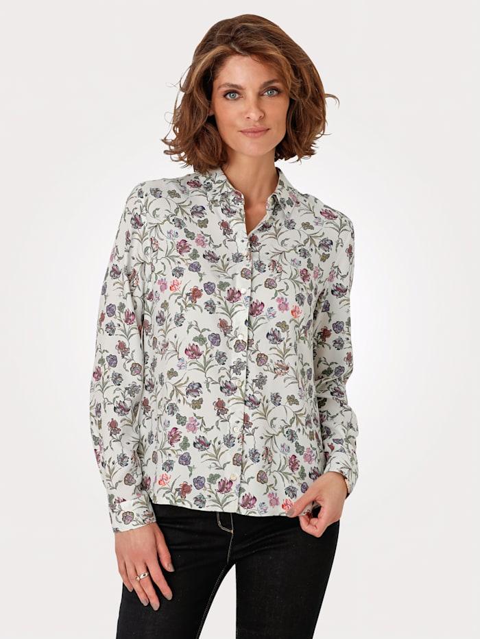 MONA Bluse aus reiner Viskose, Ecru/Grün/Rosé