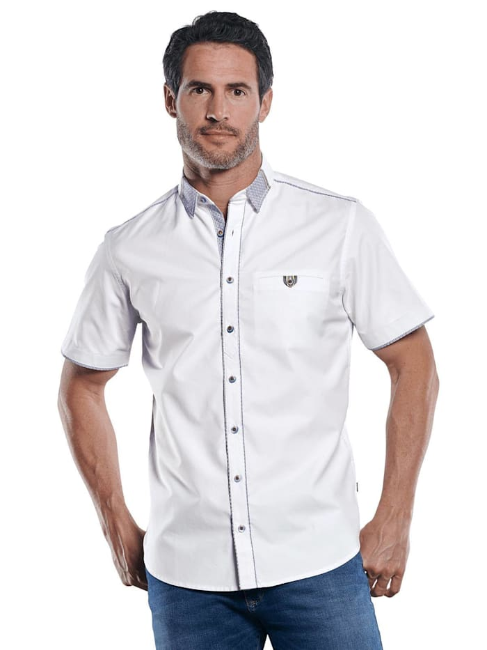 Engbers Unifarbenes Kurzarmhemd mit einzigartigen Kontrastdetails, Reinweiss