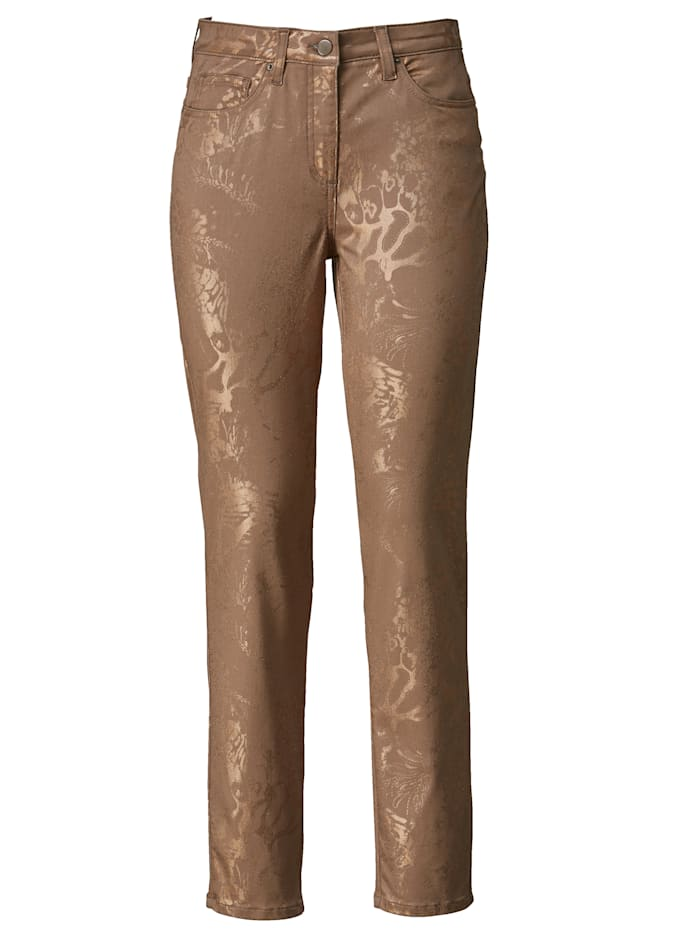 Trousers with a shimmering foil print