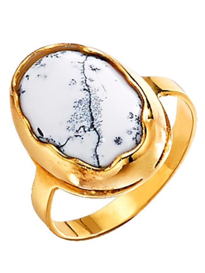 Bague à opale dentrite, Blanc