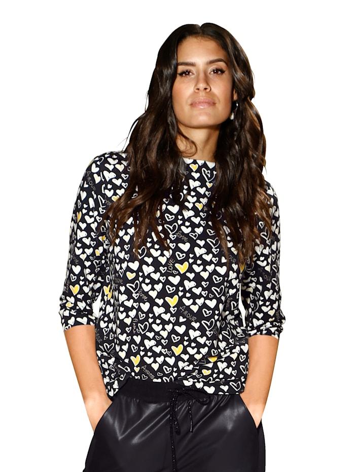 AMY VERMONT Shirt met hartjes, Zwart/Wit/Geel