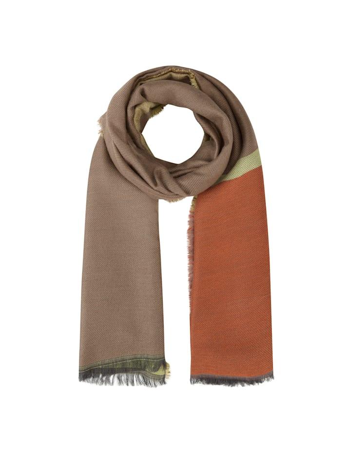 Codello Art School Schal mit breiten Jacquard-Streifen, orange