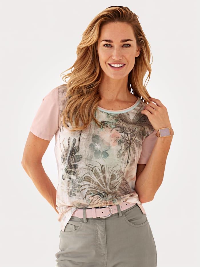 MONA Shirt van een materialenmix, Roze/Salie