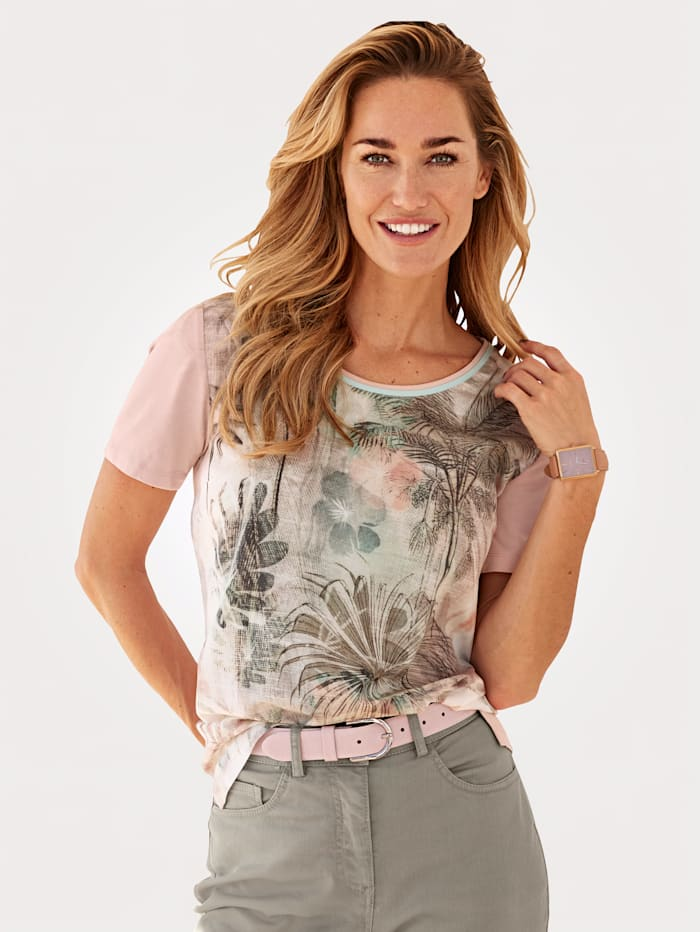 MONA T-shirt en matières mélangées, Rose/Sauge