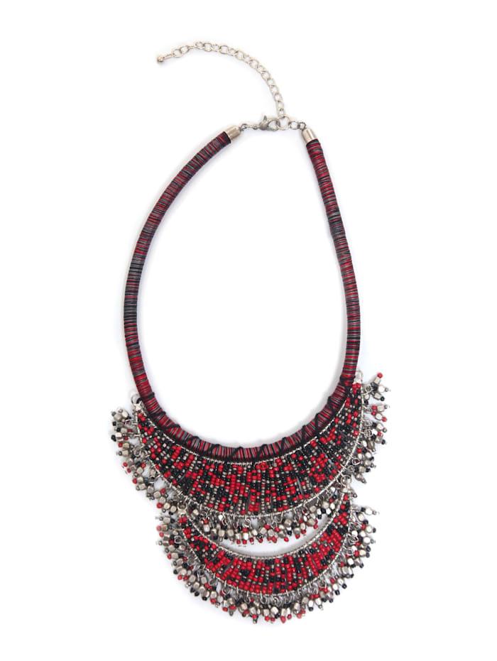Collezione Alessandro Statementkette Lucia Kette mit tausend Perlen, rot