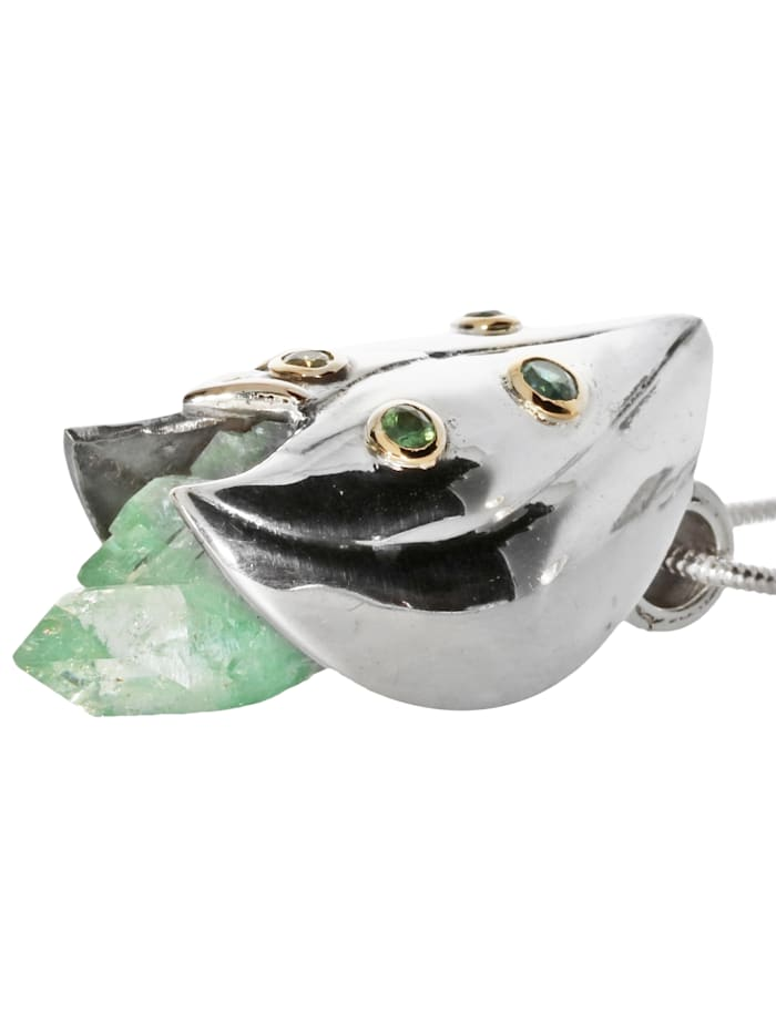 Damen Schmuck Edelstein Apophyllit Anhänger 925 Silber grün