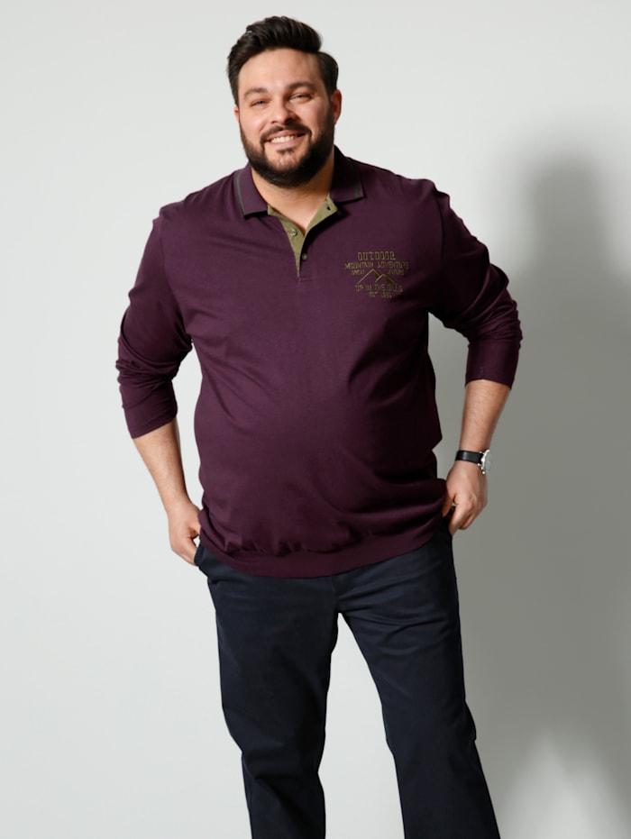 Men Plus Poloshirt Spezialschnitt, Lila/Oliv