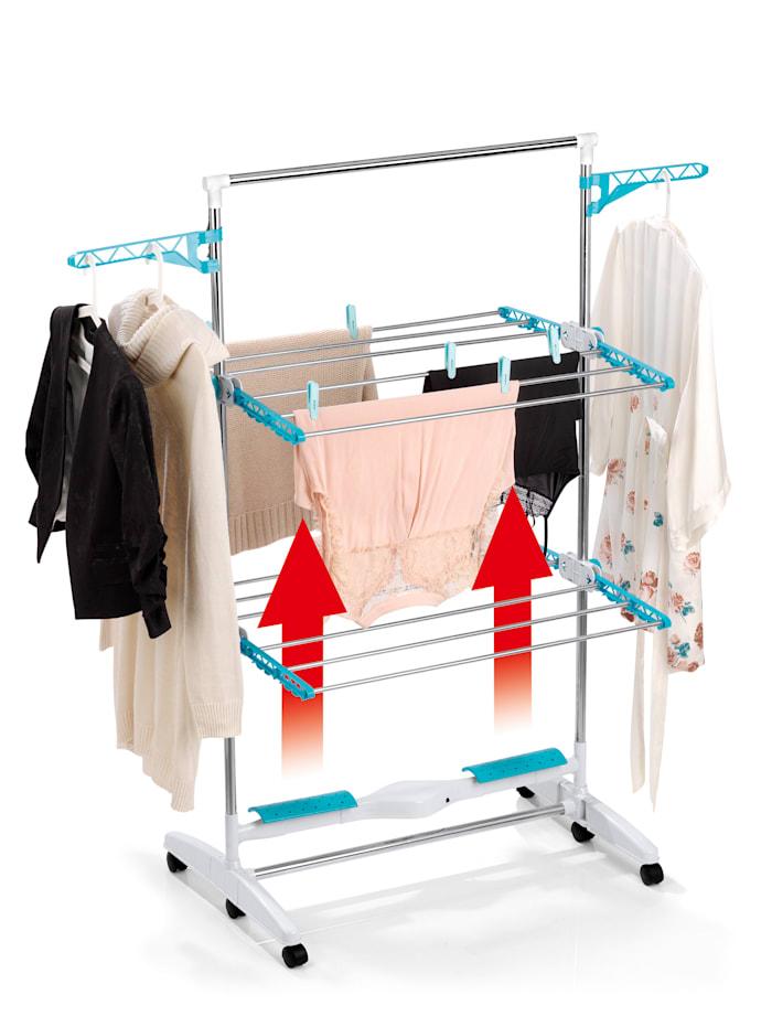 EASYmaxx EASYmaxx elektrischer Luftstrom-Wäscheständer, weiß/türkis