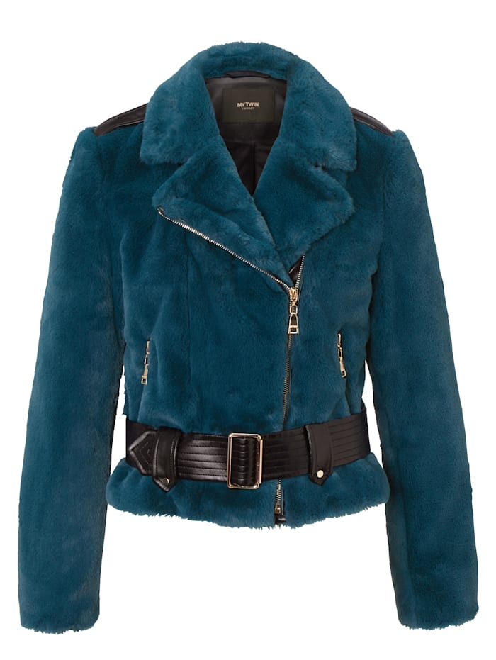 MY TWIN TWINSET Fake-Fur-Jacke, Blau