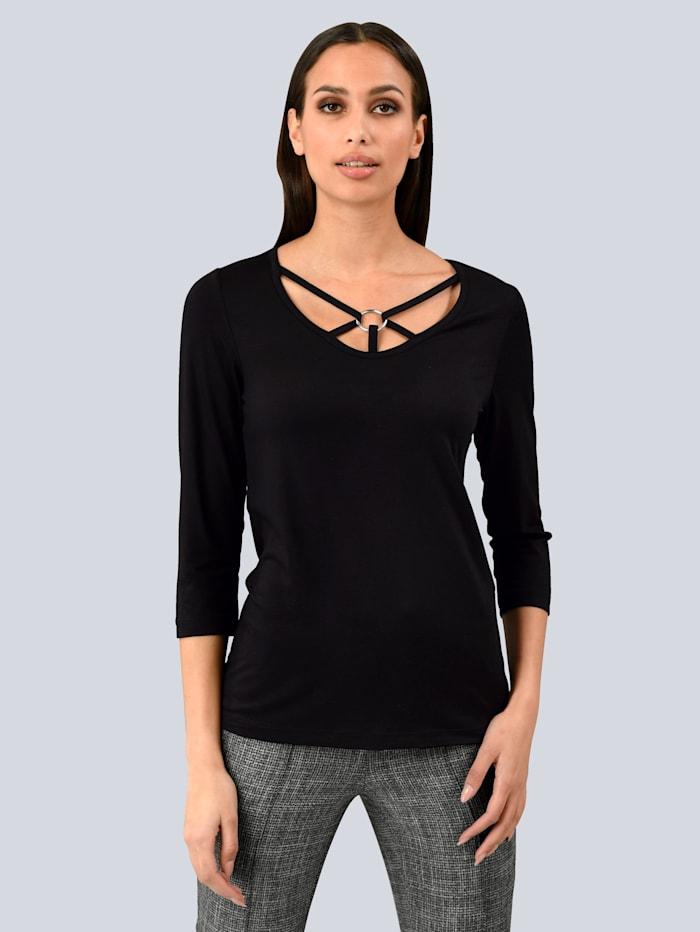 Alba Moda Shirt mit modischer Auschnittlösung, Schwarz
