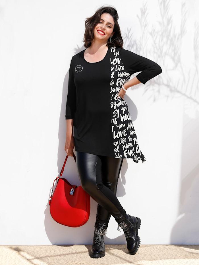 MIAMODA Longshirt mit einseitigem Zipfel, Schwarz/Weiß