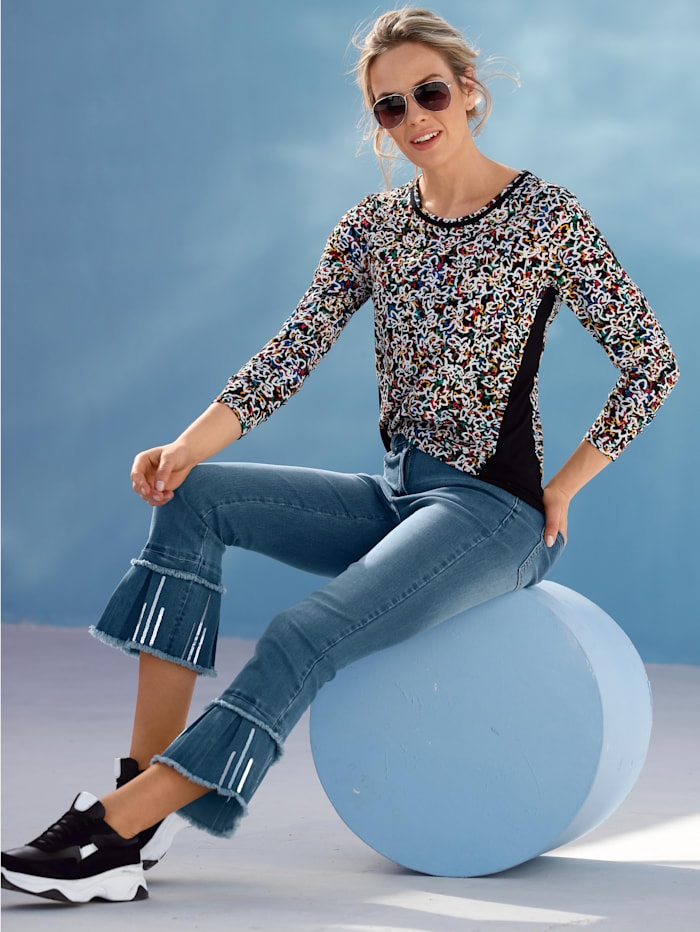 AMY VERMONT Jeans med paljetter og frynser i benkanten, Blue stone