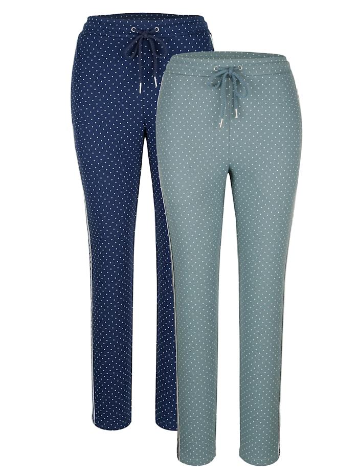 Blue Moon Lot de 2 pantalons de loisirs avec joli passepoil brillant, Sauge/Marine/Blanc