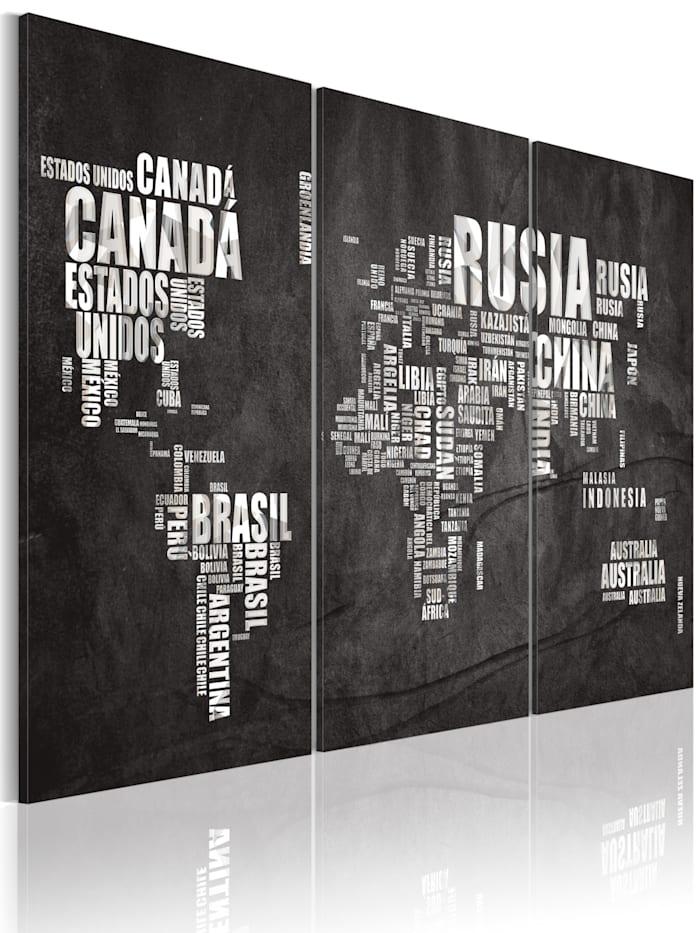 artgeist Wandbild Weltkarte (Spanisch) - Triptychon, Weiß,Grau