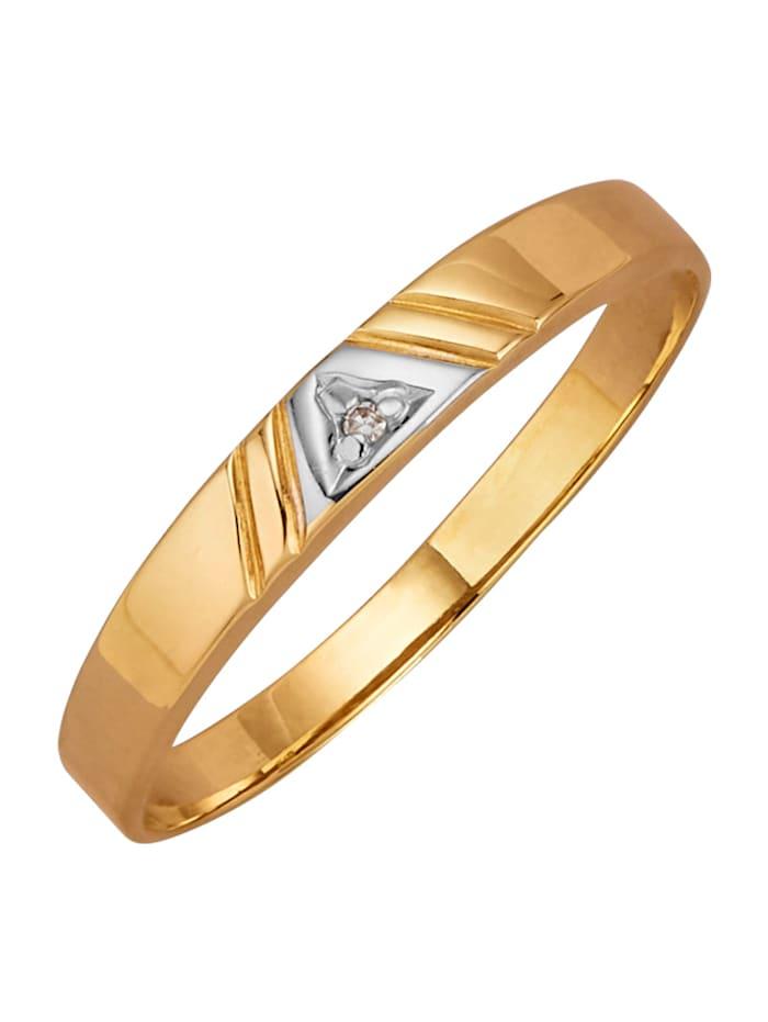Damesring met 1 diamant, Geelgoudkleur