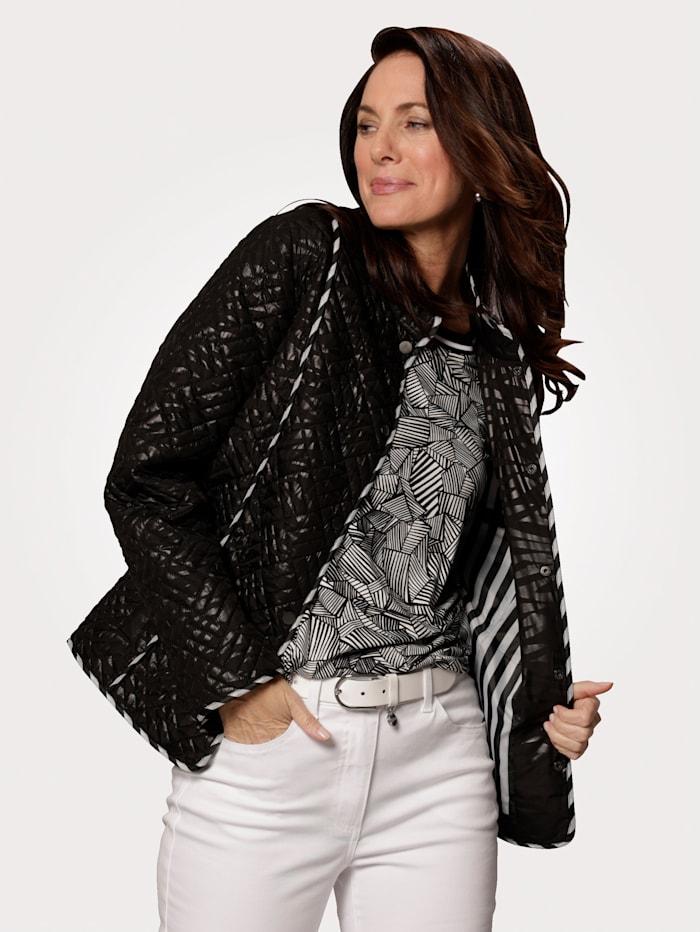 MONA Doorgestikte jas met folieprint, Zwart/Wit