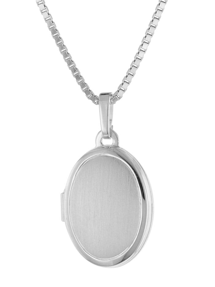 trendor Medaillon mit Halskette für Damen Silber 925, Silberfarben