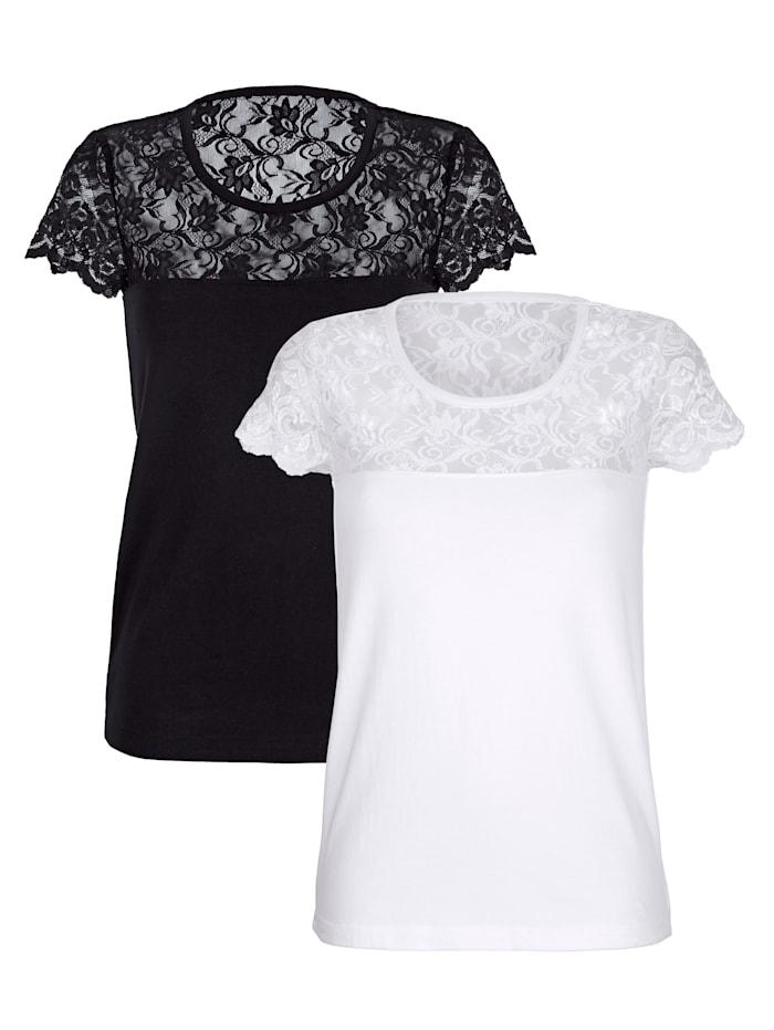 Simone Blazershirt 2 stuks, 1x zwart, 1x wit