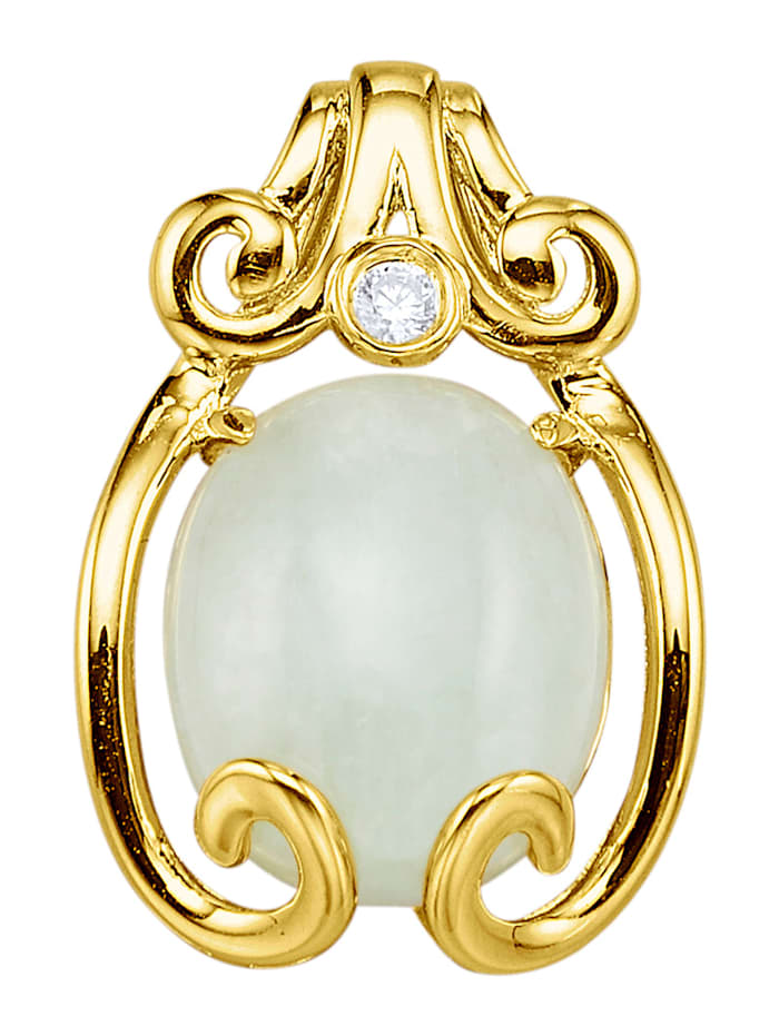 Pendentif en argent 925, doré avec jade et zirconia blanc, Coloris or jaune