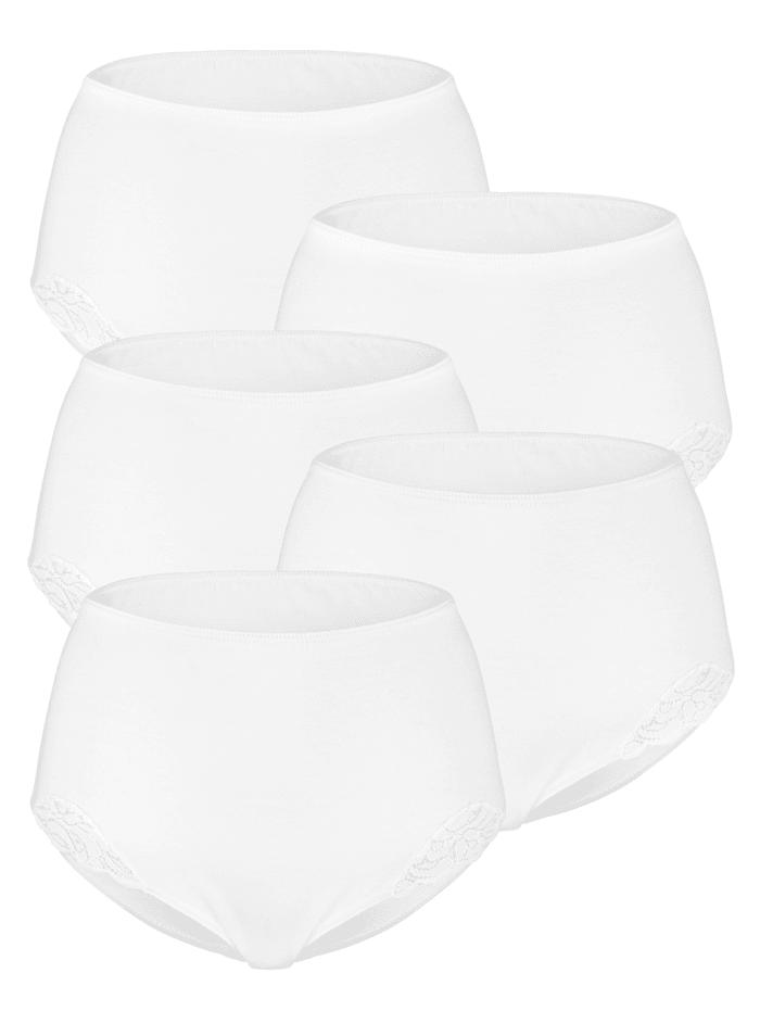 Harmony Taillenslip mit hübschen Spitzeneinsätzen 5er Pack, 5x weiß