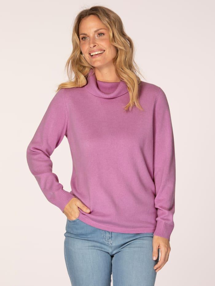 MONA Kaschmir-Pullover mit Rollkragen, Rosé
